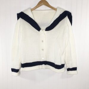 Handmade White Blue Trim Sailor Cardigan M?